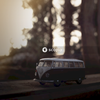 Blue volkswagen t-1 on road during sunset