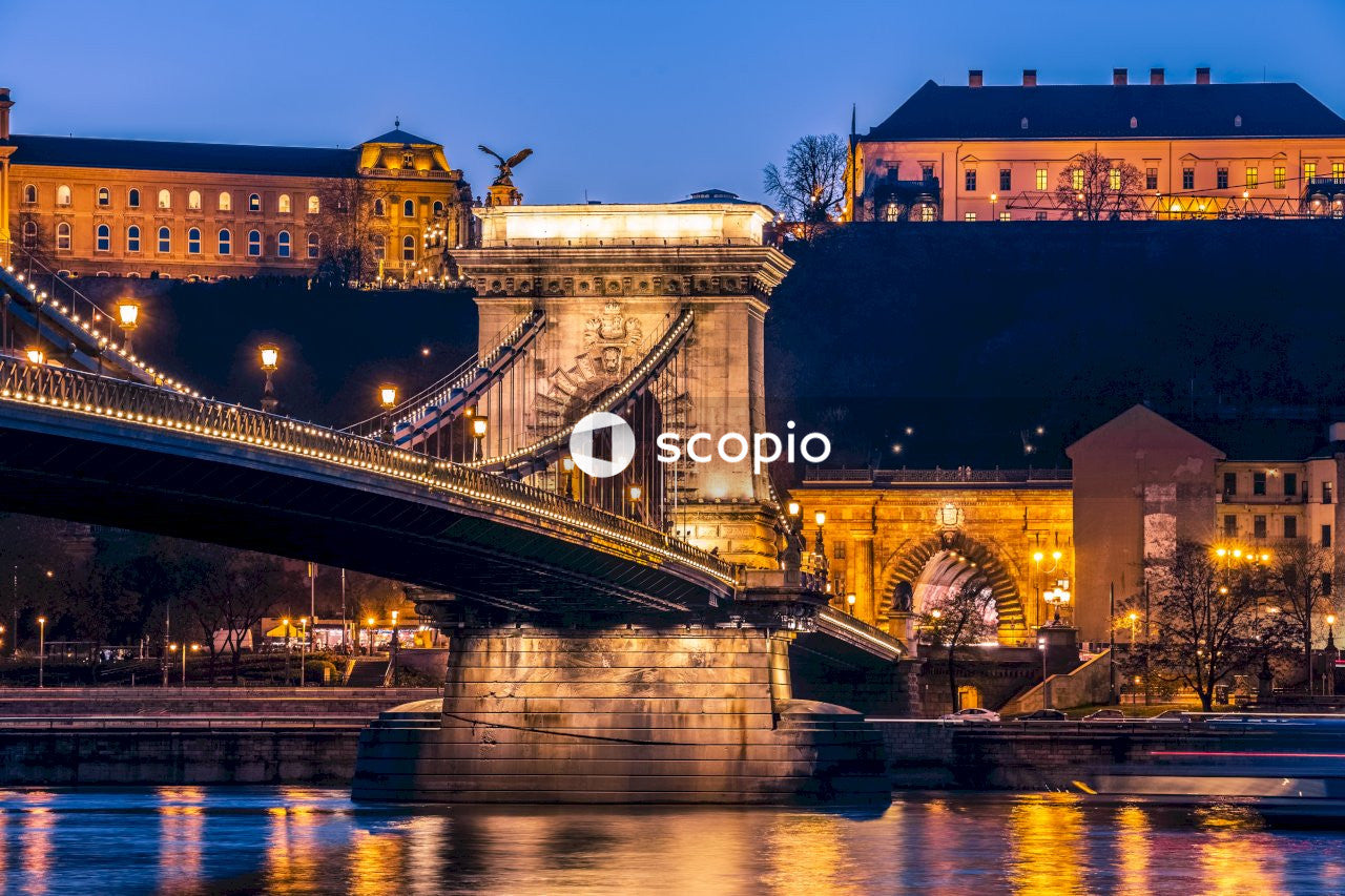 Brown bridge over river during night time