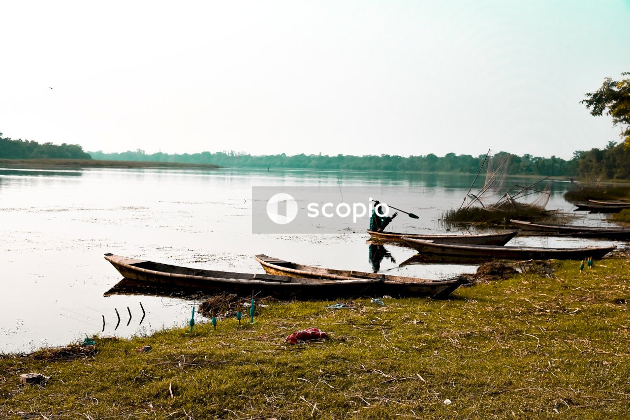 Brown wooden boat on green grass near body of water