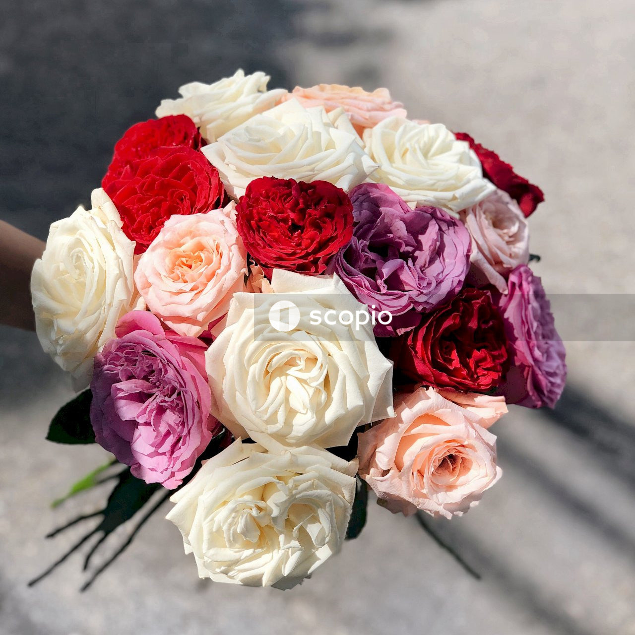 White, red, and purple bouquet