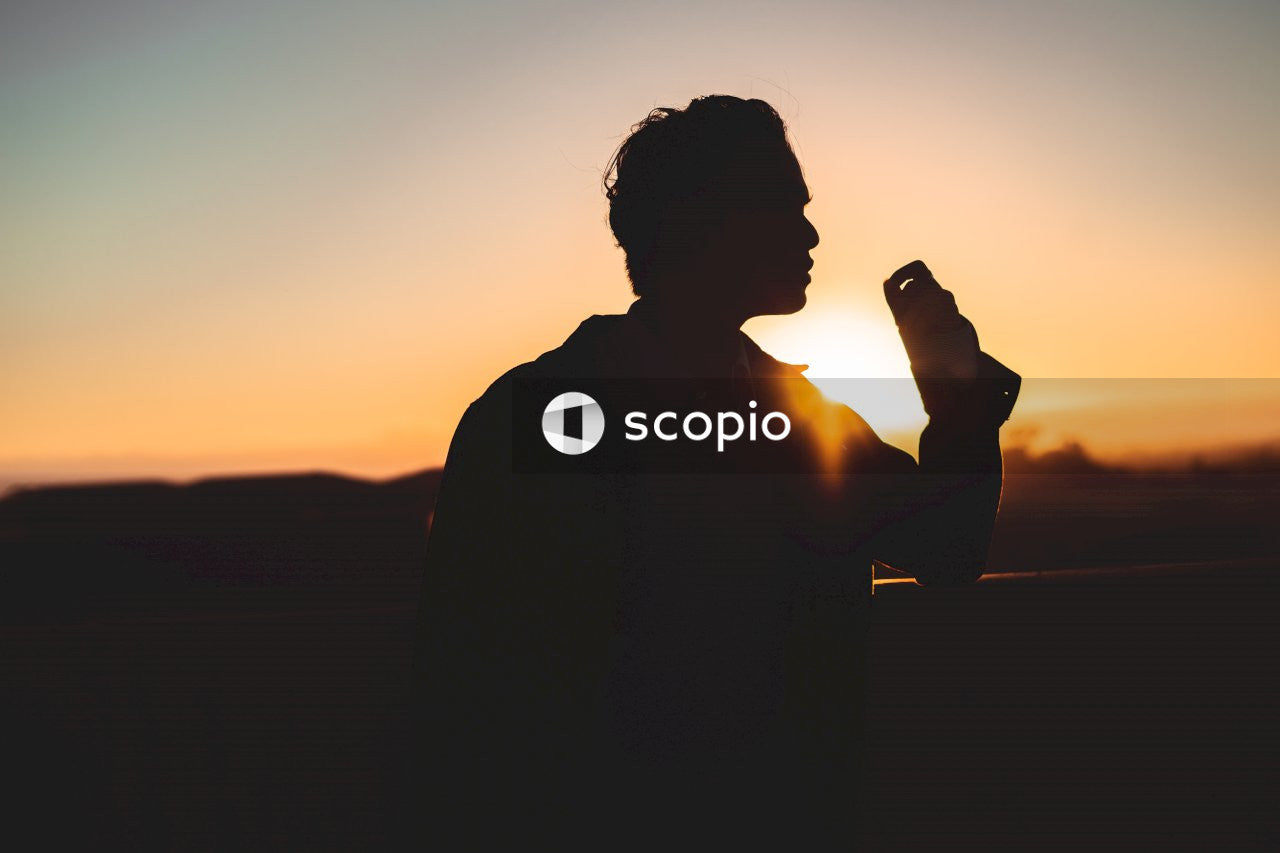 Silhouette of man holding smartphone during sunset