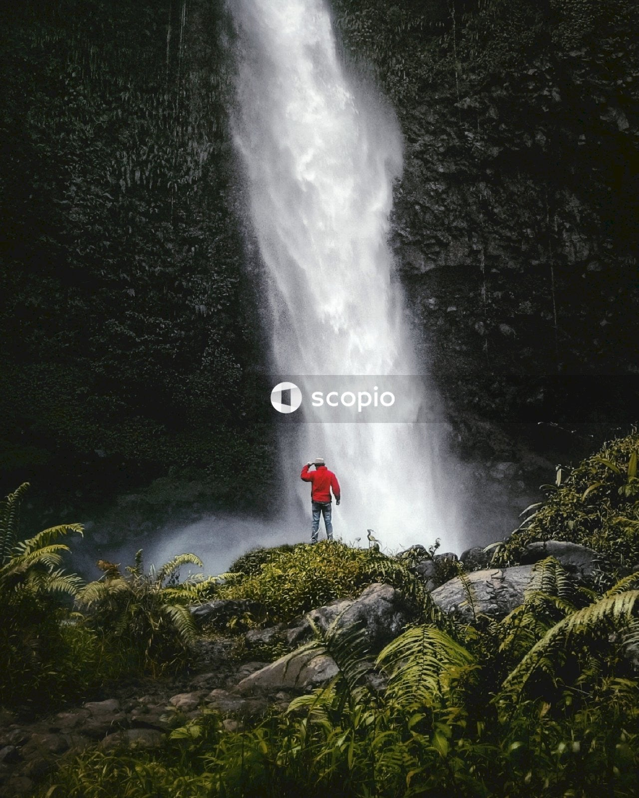 Person in red jacket standing on rock near waterfalls