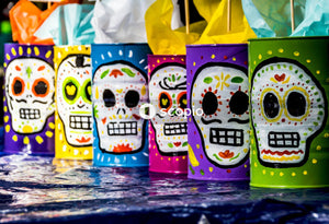 Assorted-color candy skull cups