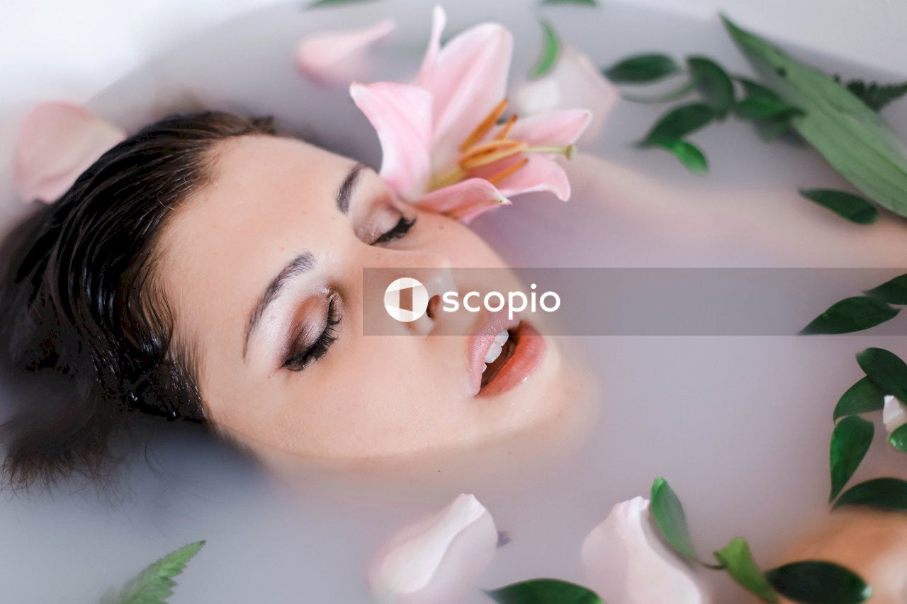 Woman on the bath tub