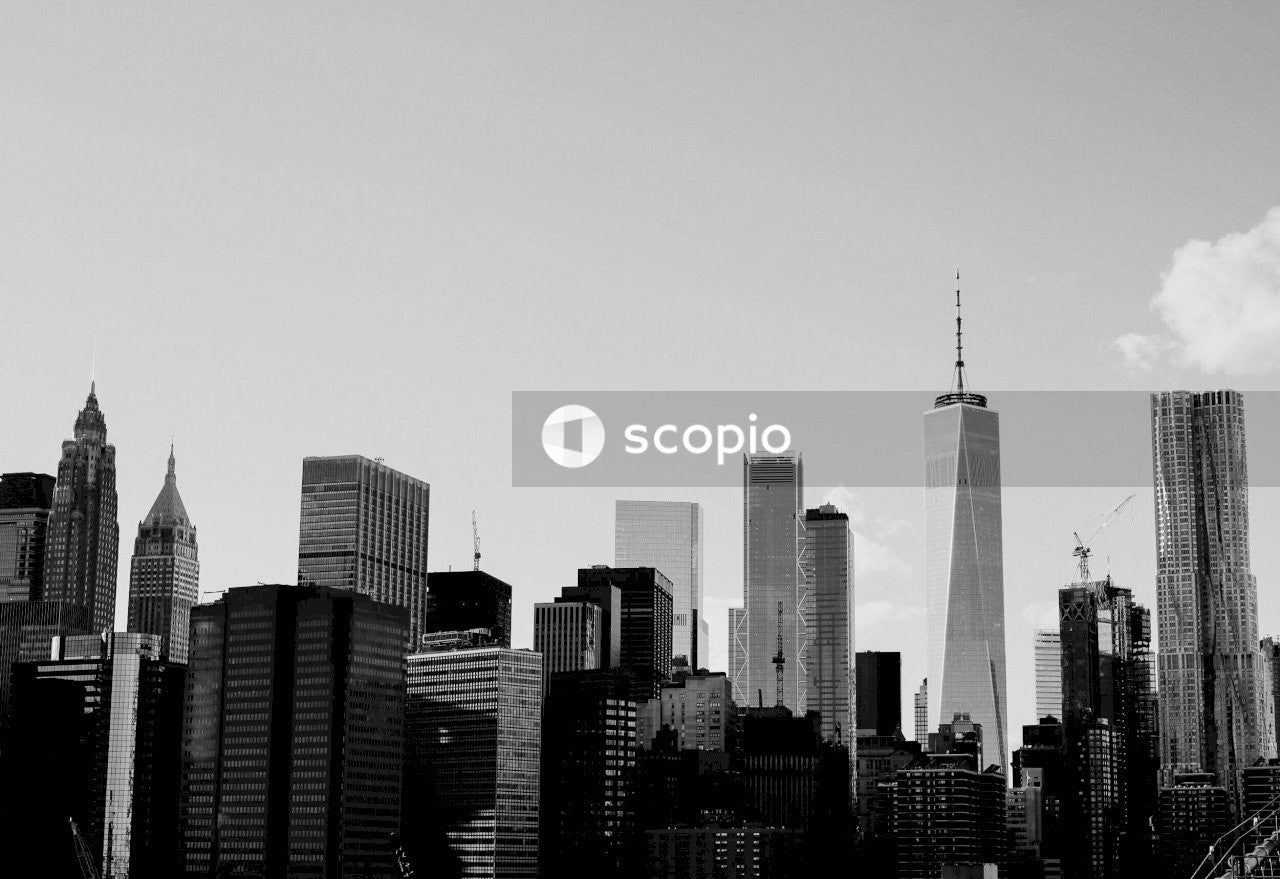 Grayscale photo of the new york skyline
