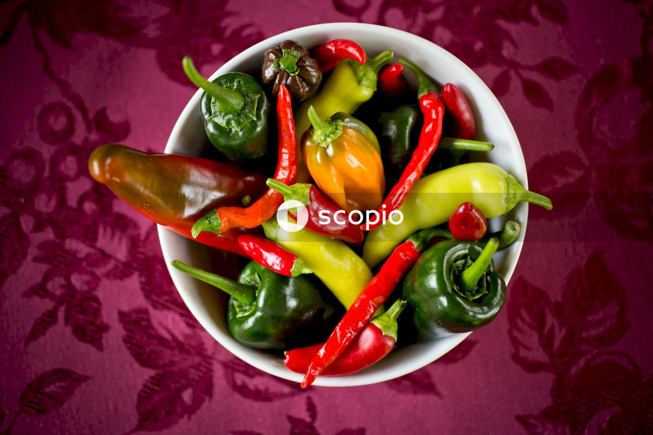 Multicolored peppers in bowl