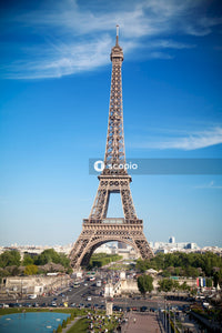 Eiffel tower under blue sky