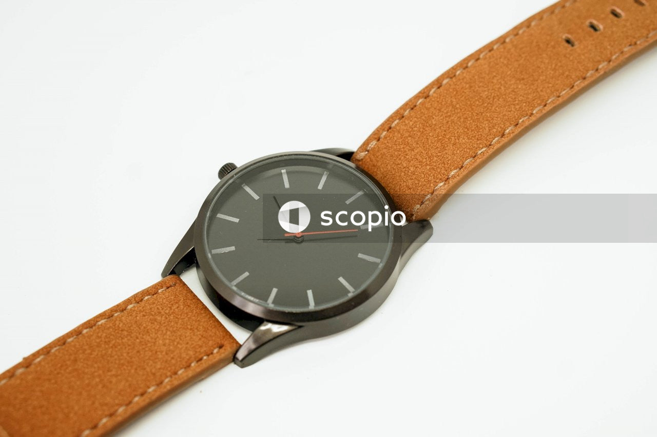 Man's black face watch with leather band