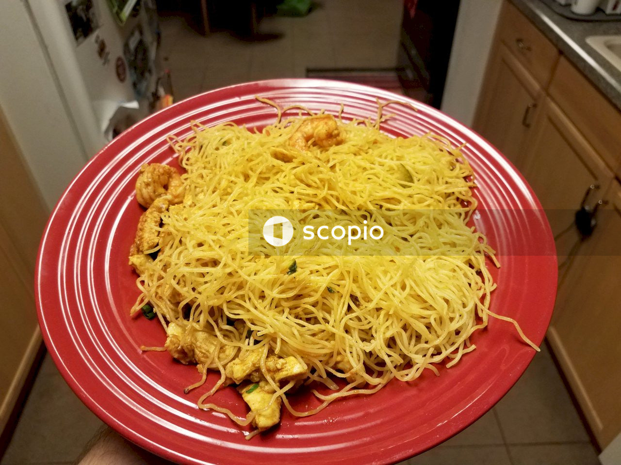Yellow pasta on plate