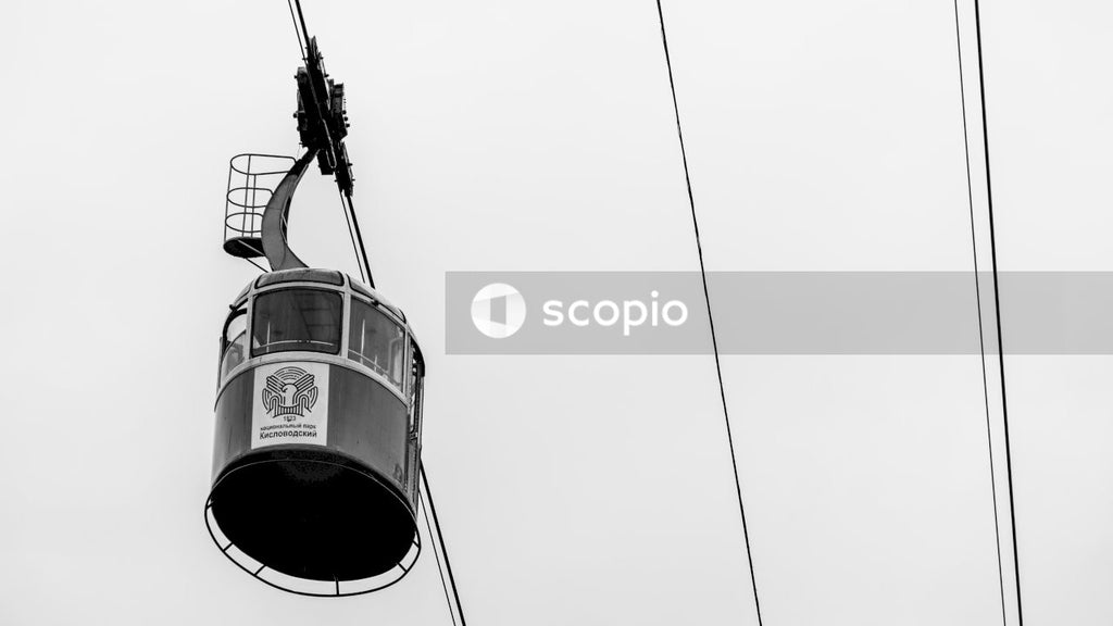 Grayscale photo of cable car