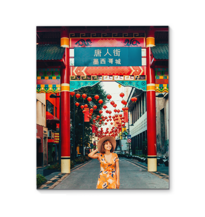 Woman standing beside temple gate print