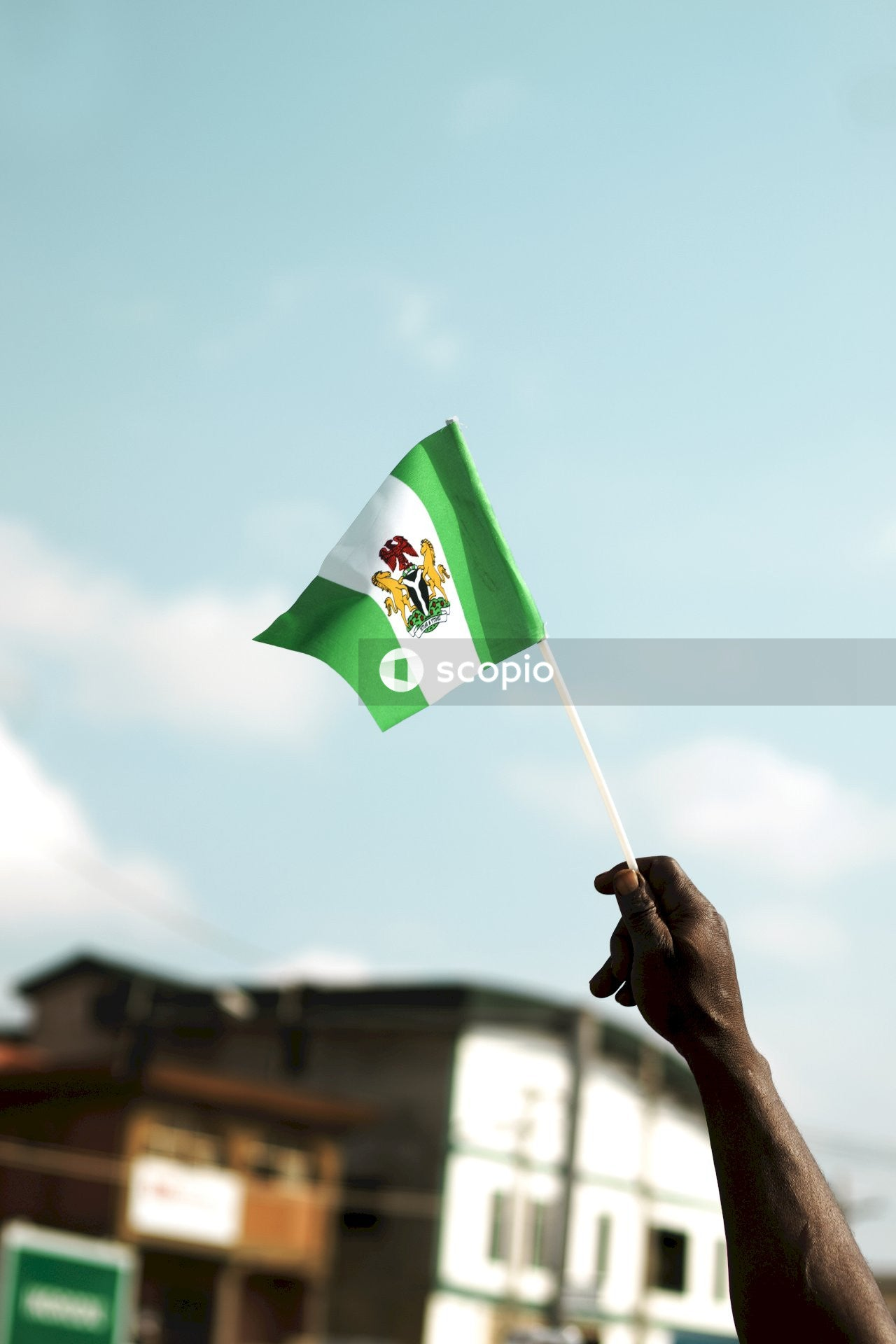 Person holding green and yellow flag