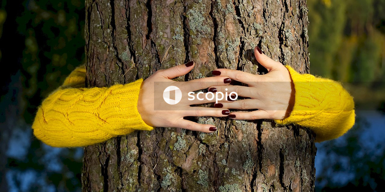 Person with black manicure on brown tree trunk