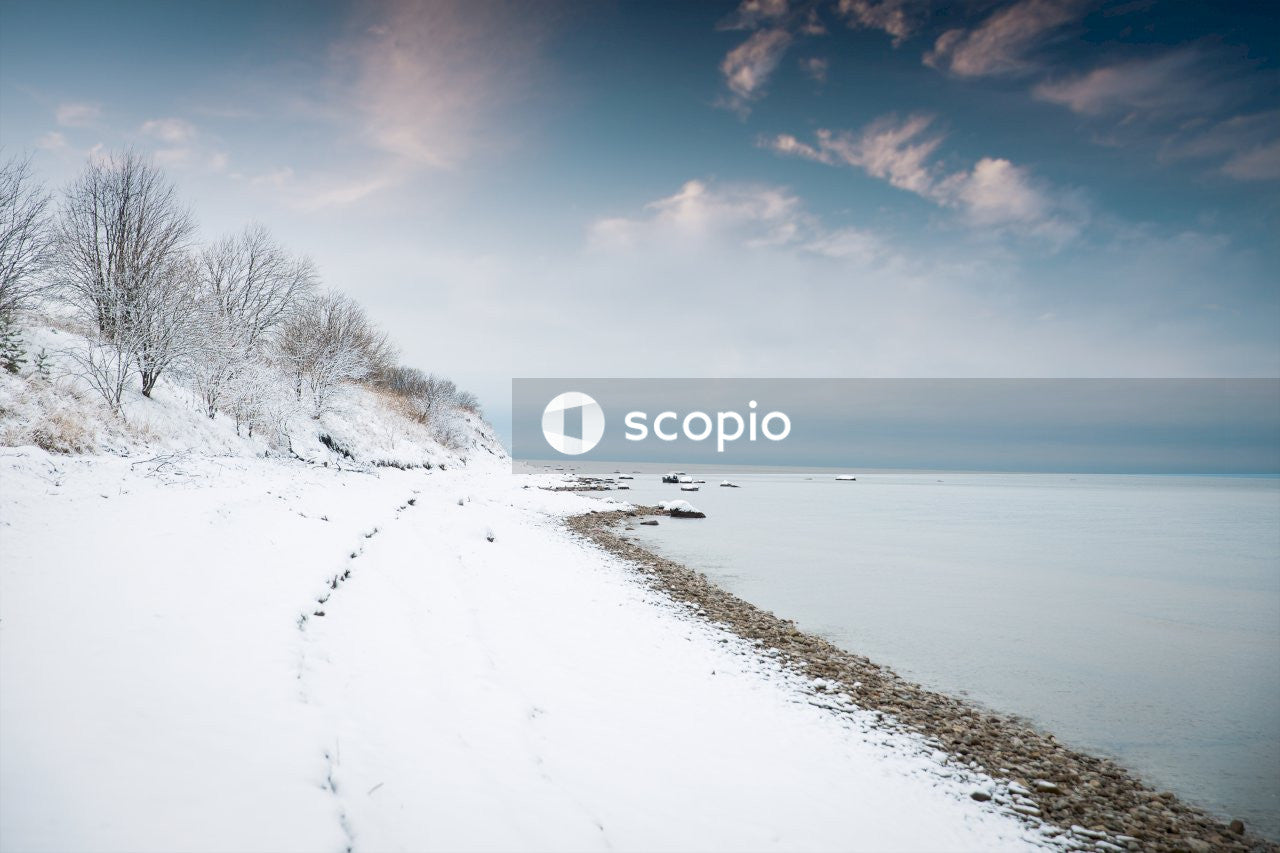 Snow covered field near body of water