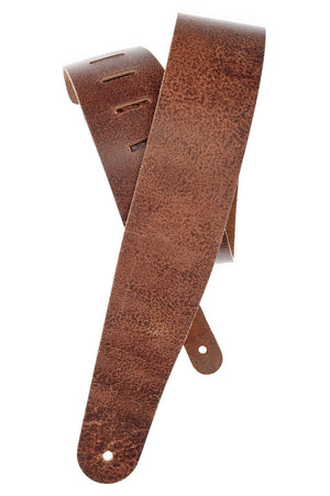 D'Addario Deluxe Leather Guitar Strap, Blasted, Brown