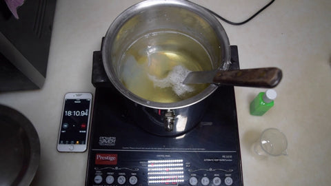 use saucepan to melt shea butter