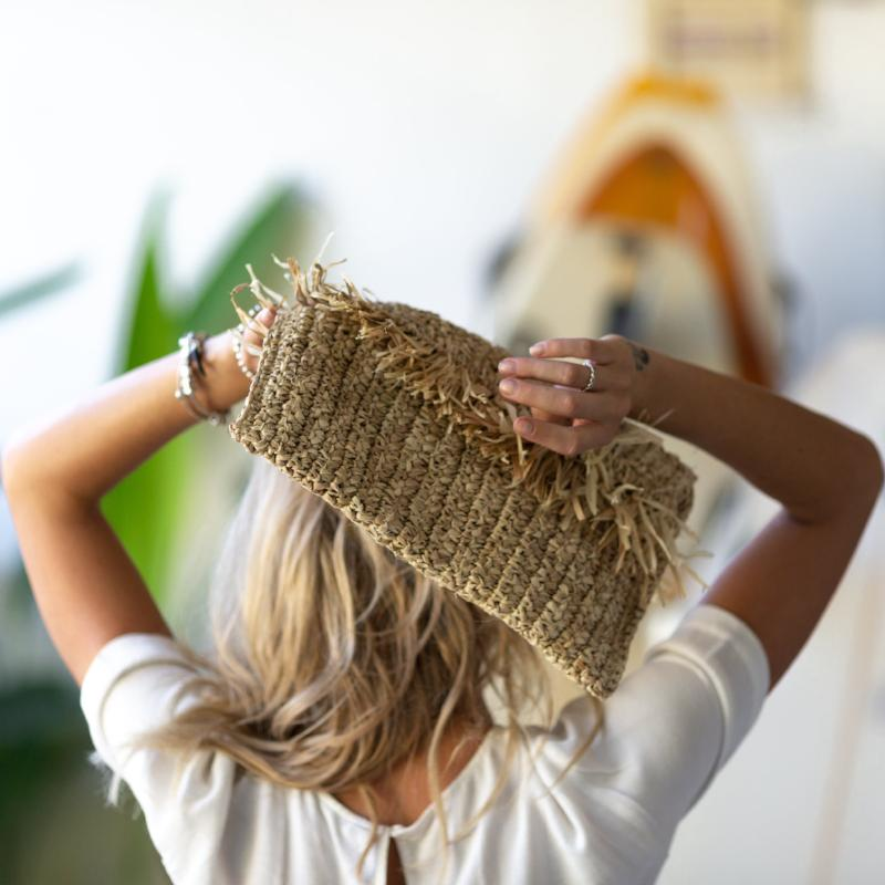 The Ibiza Fringe Clutch Sand - MOOS STRAW BAGS