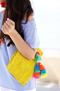 The Straw Pom Pom Tassel Clutch Yellow - MOOS STRAW BAGS