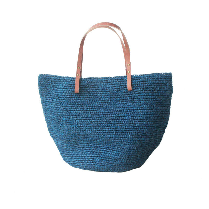 The Straw Beach Bag Navy - MOOS STRAW BAGS