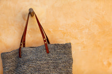 The Straw Beach Bag Soft Grey - MOOS STRAW BAGS