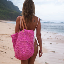 The Straw Beach Bag Fuchsia - MOOS STRAW BAGS