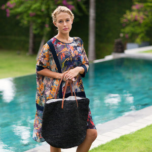 The Straw Beach Bag Black - MOOS STRAW BAGS