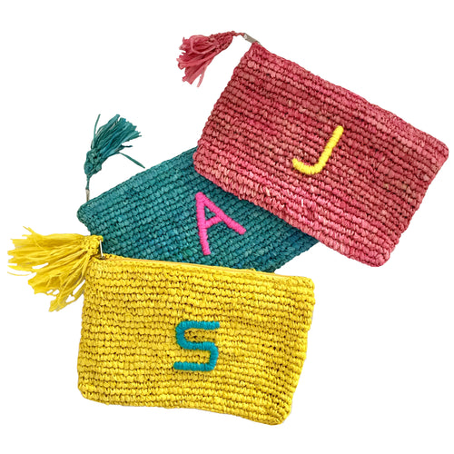 The Monogram Straw Clutch - MOOS STRAW BAGS