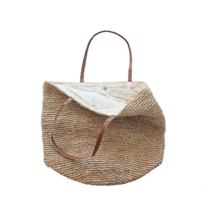 The Straw Beach Bag Sand - MOOS STRAW BAGS