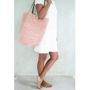 The Straw Beach Bag Pink - MOOS STRAW BAGS