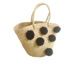 The Straw Pom Pom Basket - MOOS STRAW BAGS