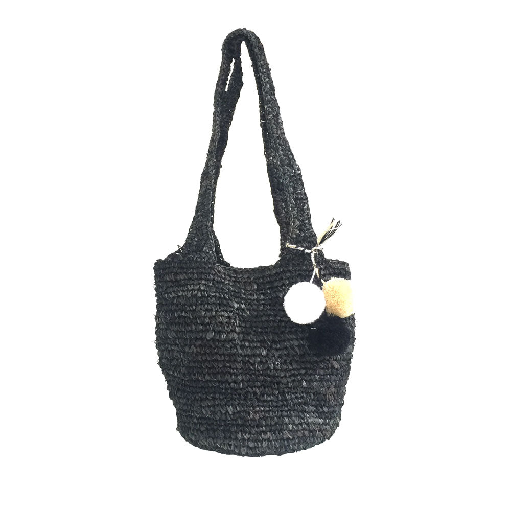 The Straw Hobo Bag Black - MOOS STRAW BAGS