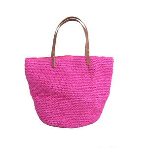 The Straw Beach Bag Hot Pink - MOOS STRAW BAGS