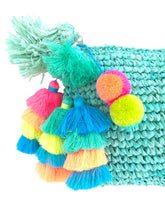 The Straw Pom Pom Tassel Clutch Aqua - MOOS STRAW BAGS