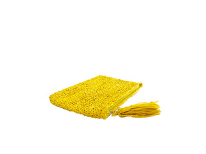 The Straw Woven Clutch Yellow - MOOS STRAW BAGS