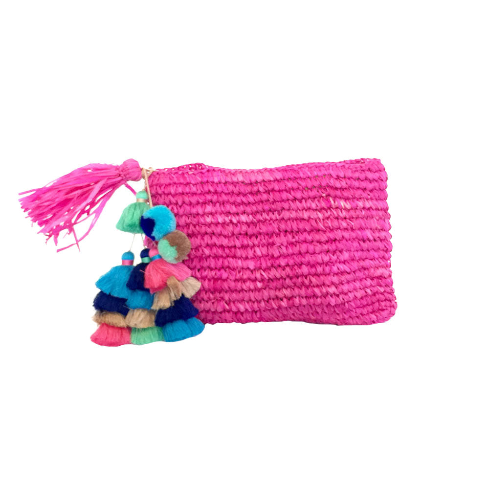 The Straw Pom Pom Tassel Clutch Fuchsia - MOOS STRAW BAGS