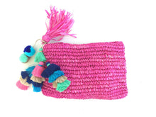 Fuchsia Clutch with pom Pom
