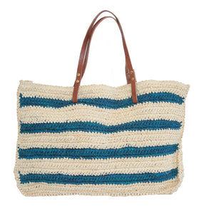 The Straw Striped Bag Navy - MOOS STRAW BAGS