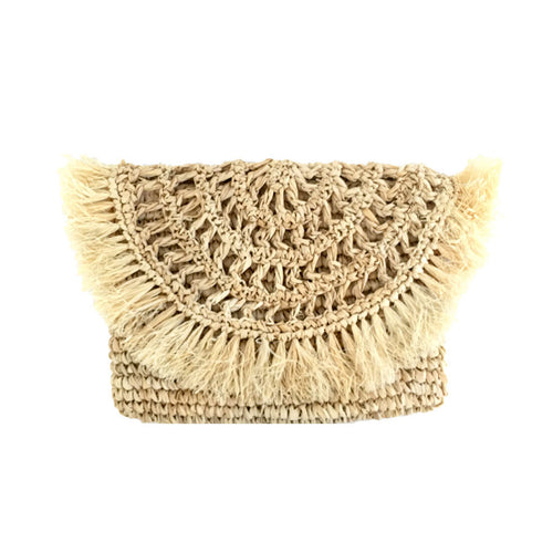 The Raffia Fringe Clutch - MOOS STRAW BAGS