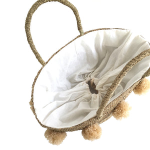The Personalised Pom Pom Straw Basket - MOOS STRAW BAGS