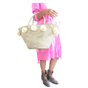The Pom Pom Basket - MOOS STRAW BAGS