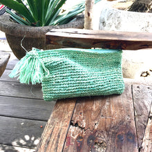 The Original Straw Woven Clutch Aqua - MOOS STRAW BAGS