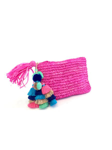 Pink Pom Pom and Tassel Clutch