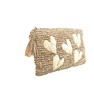 The Straw Clutch Hearts Natural - MOOS STRAW BAGS
