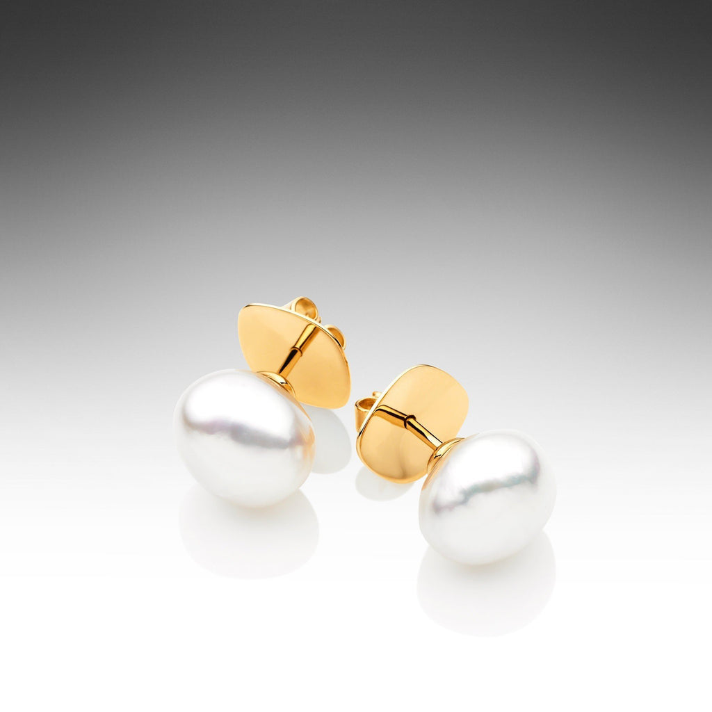 10mm Yellow Gold South Sea Pearl Earrings   Pearl Jewellery   Paspaley