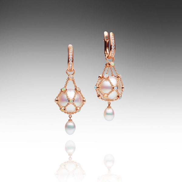 Lavalier Opal Earrings - Round