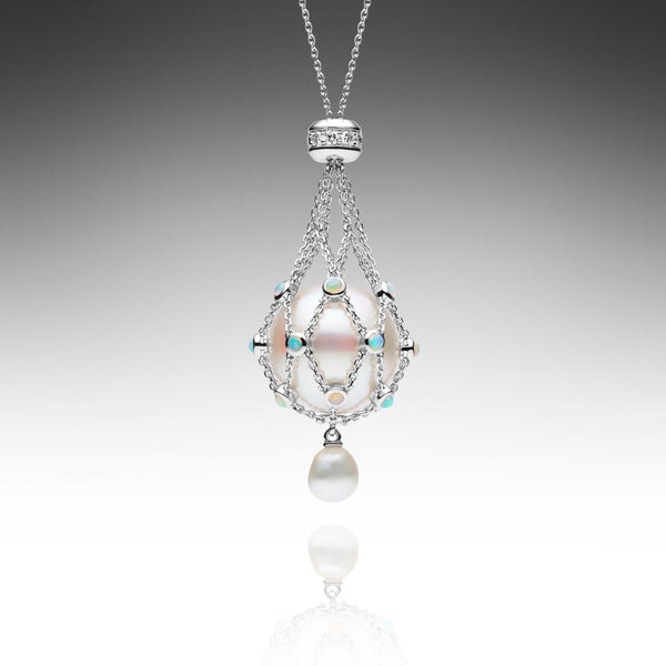Lavalier White Gold Opal - Button