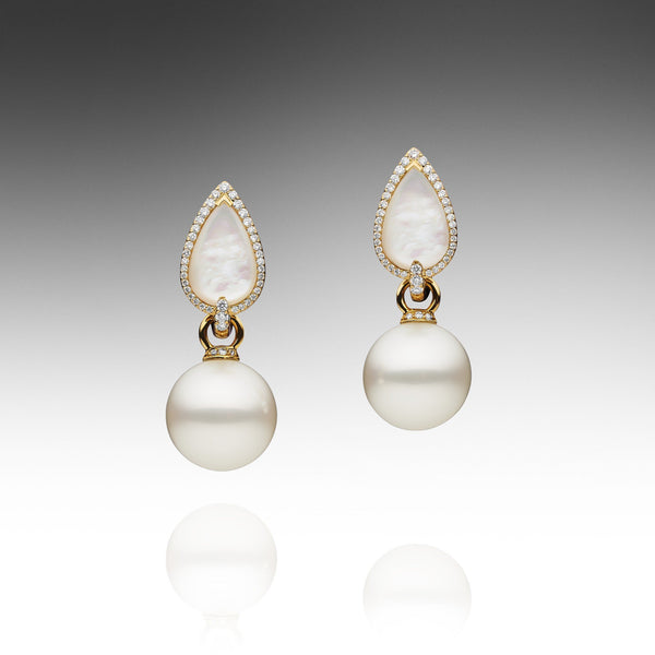 Maxima Pearl Earrings - Yellow Gold