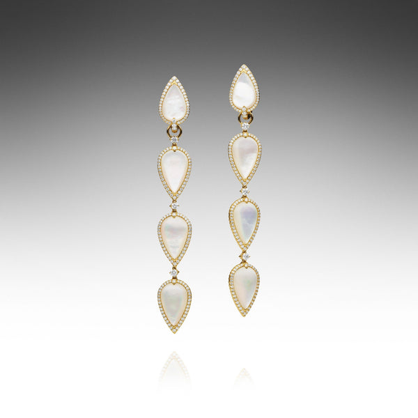 Maxima White Long MOP Earrings - Yellow Gold