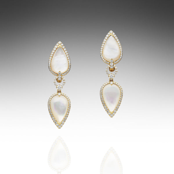 Maxima White MOP Earrings - Yellow Gold