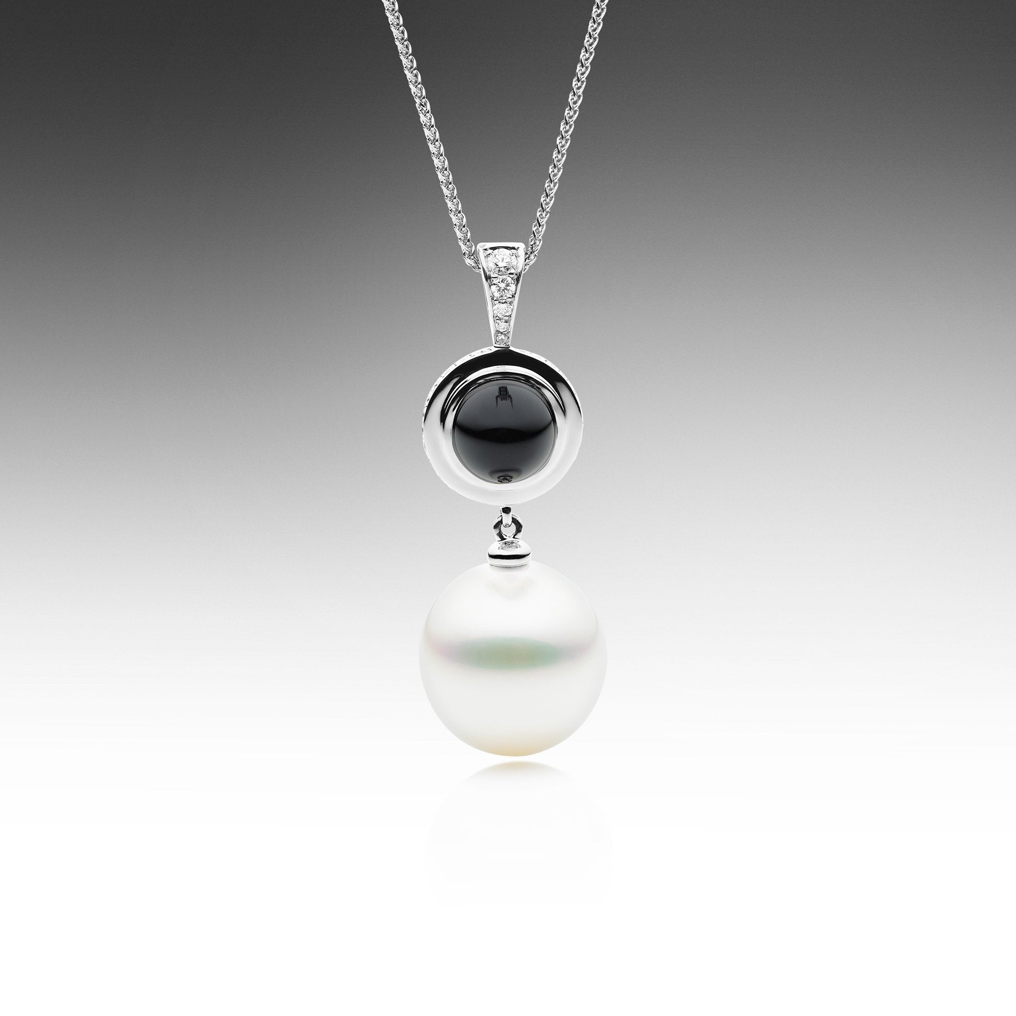 black gold necklace onyx pasquale diamonds white jewelry bruni and sissi pendant